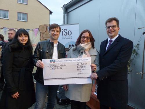 RMS tegos übergibt Wiesenhort in Bamberg Bug Spendenscheck